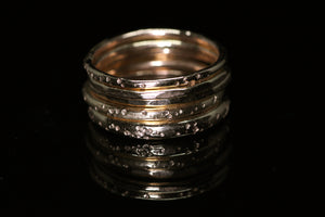 North star rings: 14K rose or yellow gold rings (3 widths; sizes 3–12)