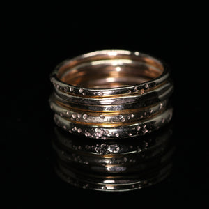 North star rings (14K yellow, rose, and palladium white gold; multiple options)