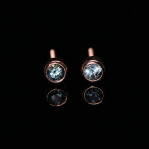 14K rose gold blue Montana sapphire earrings with threaded posts/backs (~0.35 ct)