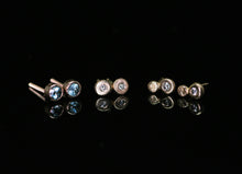 Load image into Gallery viewer, 14K rose gold blue Montana sapphire earrings with threaded posts/backs (~0.35 ct)