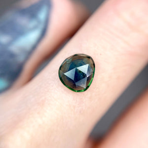 Create your own solitaire ring: 2.09ct blue/green silky Montana sapphire rosecut