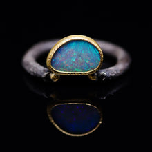 "Load image into Gallery viewer, ""Adin"": 22K gold & silver natural Australian opal ring; one of a kind (size 8)"