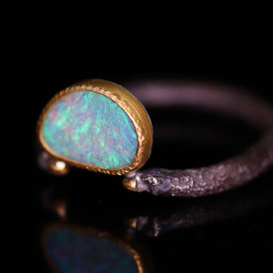 """Ava"": 22K gold & silver natural Australian opal ring; one of a kind (size 8)"