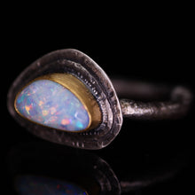 "Load image into Gallery viewer, ""Gwyneth"": 22K gold and silver natural Australian opal ring; one of a kind (size 7)"
