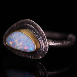 """Gwyneth"": 22K gold and silver natural Australian opal ring; one of a kind (size 7)"