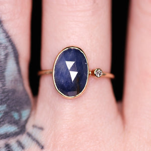 """Alexandra"" ring: 14K rosecut blue sapphire & diamond cocktail ring (size 7.5; one of a kind)"
