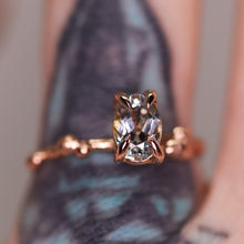 "Load image into Gallery viewer, ""Calla"": 14K Montana parti sapphire engagement/right hand ring"