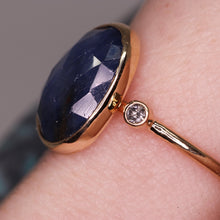 "Load image into Gallery viewer, ""Alexandra"" ring: 14K rosecut blue sapphire & diamond cocktail ring (size 7.5; one of a kind)"