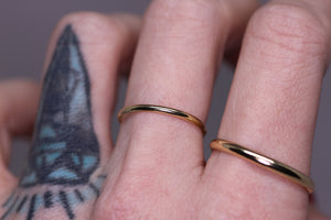 """Armoir"": Classic 14K yellow or rose gold bands (4 widths; sizes 3–12)"