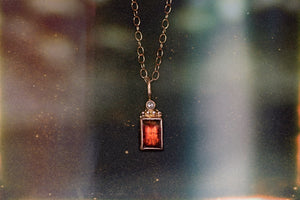 """Relic"": 14K rose gold and rosecut tourmaline and salt and pepper diamond pendant (one of a kind)"