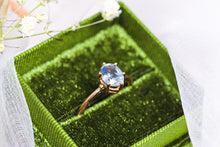 Load image into Gallery viewer, One of a kind and ready to ship: 14K rose gold & pastel blue unheated Umba sapphire (stylized photo in white gift box (forest green gift box is included with our engagement rings))