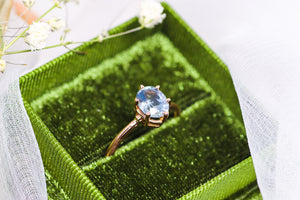 One of a kind and ready to ship: 14K rose gold & pastel blue unheated Umba sapphire (stylized photo in white gift box (forest green gift box is included with our engagement rings))