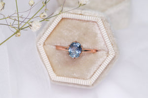 One of a kind and ready to ship: 14K rose gold & pastel blue unheated Umba sapphire (stylized photo in white gift box (box not included))