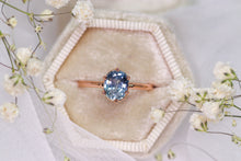 Load image into Gallery viewer, One of a kind and ready to ship: 14K rose gold & pastel blue unheated Umba sapphire (stylized photo in white gift box (box not included))