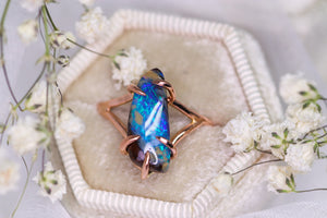 """Aoki"": 14K rose gold & natural Australian boulder opal ring"
