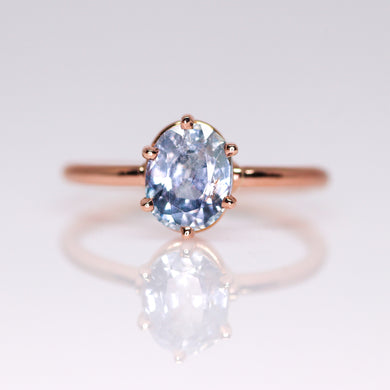 One of a kind and ready to ship: 14K rose gold & pastel blue unheated Umba sapphire
