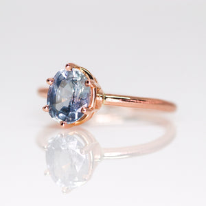 One of a kind and ready to ship: 14K rose gold & pastel blue unheated Umba sapphire (6 prong side view)