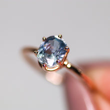 Load image into Gallery viewer, One of a kind and ready to ship: 14K rose gold & pastel blue unheated Umba sapphire (macro close-up of the sapphire)
