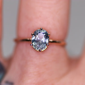 One of a kind and ready to ship: 14K rose gold & pastel blue unheated Umba sapphire (modeled on a finger)
