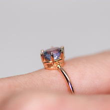 Load image into Gallery viewer, One of a kind and ready to ship: 14K rose gold & pastel blue unheated Umba sapphire (side view of ring gallery on finger)