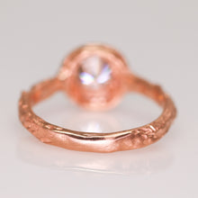 "Load image into Gallery viewer, ""Sequoia"": 14K rose gold solitaire ring (one of a kind grey moissanite)"