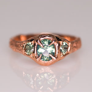 """Atara"": 14K rose gold parti sapphire crown ring (one of a kind)"