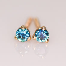 "Load image into Gallery viewer, ""Cyane"": 14K yellow gold & parti sapphire earrings"