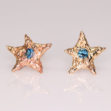 "Load image into Gallery viewer, ""Dream star"": 14K yellow gold & parti sapphire earrings"
