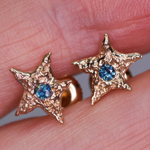 """Dream star"": 14K yellow gold & parti sapphire earrings"