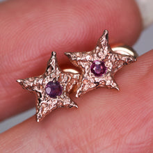 "Load image into Gallery viewer, ""Dream star"": 14K rose gold & vintage ruby earrings"