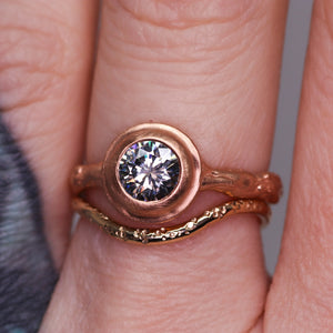 """Sequoia"": 14K rose gold solitaire ring (one of a kind grey moissanite)"
