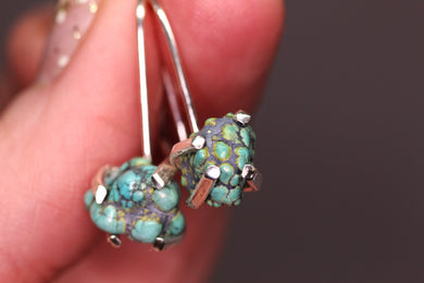 Blue Moon turquoise & sterling silver drop earrings (one of a kind)