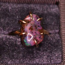 "Load image into Gallery viewer, ""Amabel"": 14K yellow gold & natural Australian boulder opal ring"