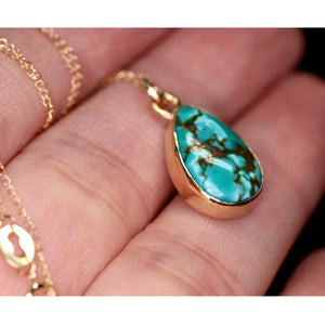 """Atrium"": 14K high-grade Royston turquoise pendant (one of a kind)"