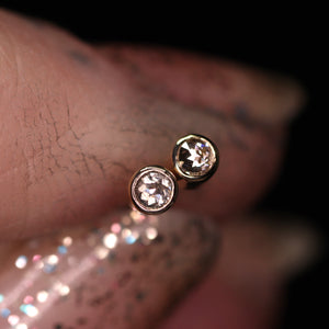 """Moonglow"": 14K petite salt & pepper diamond earrings (one of a kind)"