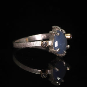 """Ebb"": one of a kind sapphire & diamond sterling silver ring (size 8)—one of a kind"