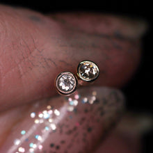 "Load image into Gallery viewer, ""Moonglow"": 14K petite salt & pepper diamond earrings (one of a kind)"