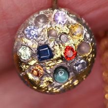 "Load image into Gallery viewer, ""Northern Lights"": sapphire encrusted art sculpture pendant (one of a kind)"