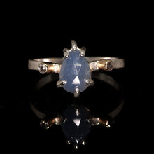 "Load image into Gallery viewer, ""Ebb"": one of a kind sapphire & diamond sterling silver ring (size 8)—one of a kind"