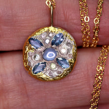 "Load image into Gallery viewer, ""Ora"": Montana sapphire-encrusted art sculpture pendant (one of a kind)"