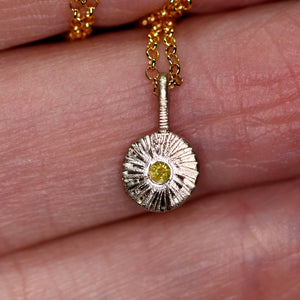 """Dahlia"": One of a kind recycled 14K palladium white gold & yellow diamond pendant"