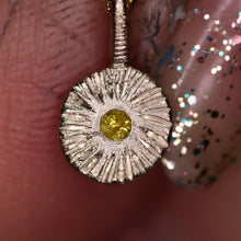 "Load image into Gallery viewer, ""Dahlia"": One of a kind recycled 14K palladium white gold & yellow diamond pendant"