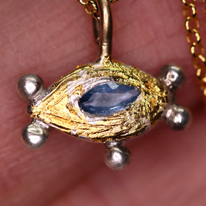 """Aurora"": Montana sapphire, gold & silver eye necklace (one of a kind)"
