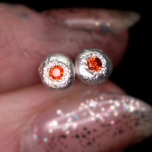 """Starlights"": red-orange sapphire earrings (one of a kind)"