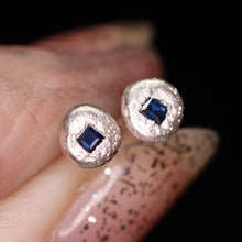 "Load image into Gallery viewer, ""Starlights"": blue sapphire earrings (one of a kind)"