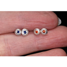 "Load image into Gallery viewer, ""Starlights"": red-orange sapphire earrings (one of a kind)"