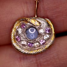 "Load image into Gallery viewer, ""'Alayziah"": sapphire encrusted snake art sculpture pendant (one of a kind)"