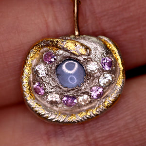"""'Alayziah"": sapphire encrusted snake art sculpture pendant (one of a kind)"