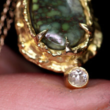 "Load image into Gallery viewer, ""Akiva"": 18K royal yellow gold, Damele variscite and diamond pendant"