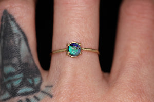 """Abigail"": 14K yellow or rose gold Sterling opal ring (sizes 3-12)"